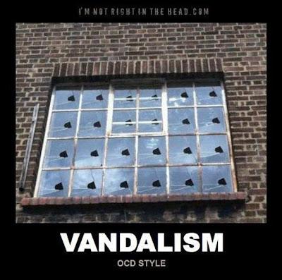 Vandalism OCD style broken mirrors