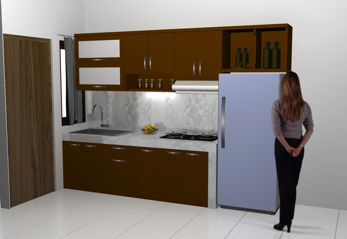 Kitchen Set Lurus Minimalis Dan Sekat Ruang Tamu Bentuk Sirip Sirip