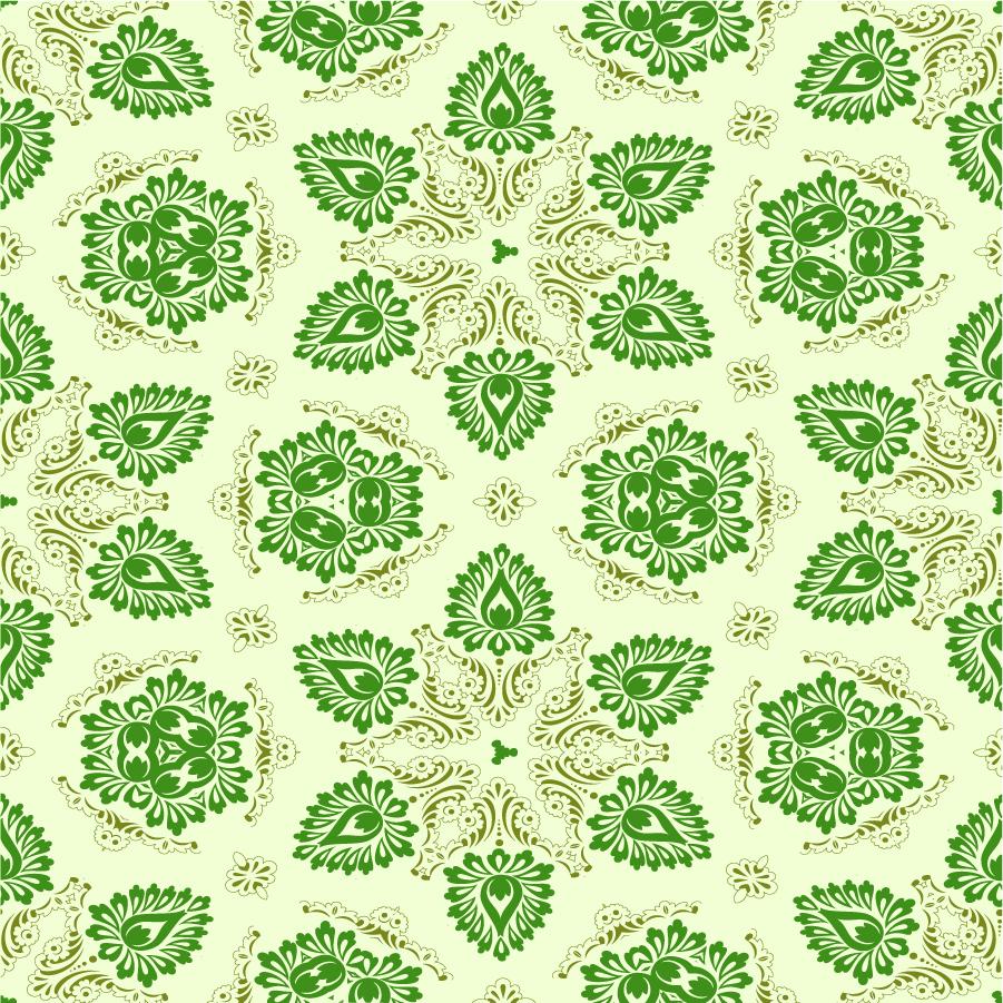 シームレスな緑の壁紙 Green Seamless Floral Ornament イラスト素材