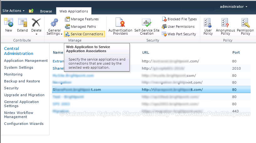 SharePoint 2010 Web Application Service Connection