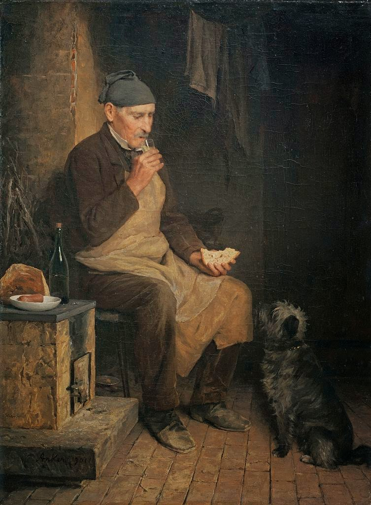 albert Anker, painting review, old man resting