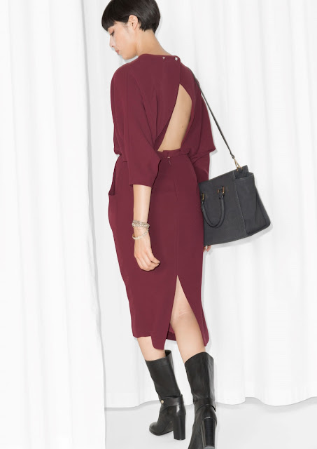 burgundy open back dress, stories open back dress,