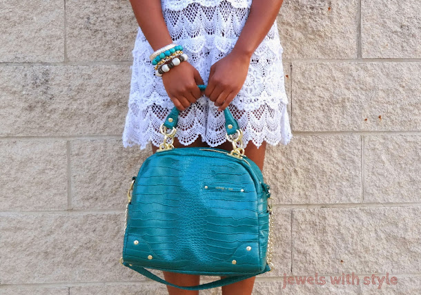 jewels with style, crochet dress, white summer dress, arm part, m renee design, monica warren, blog lessons, black fashion blogger, fashion blogger tips, alice and olivia purse, green tote purse