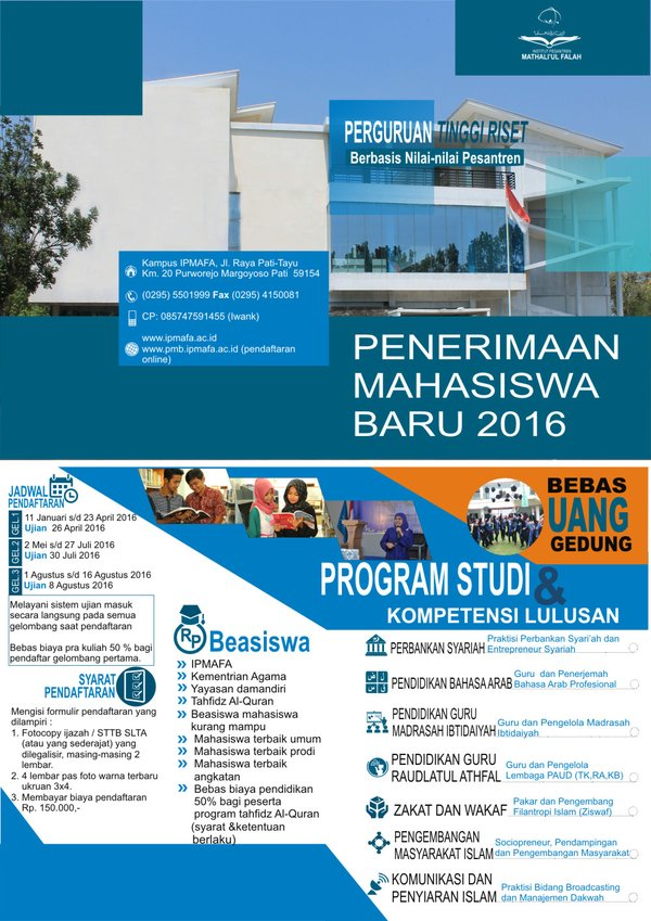 IPMAFA NEWS - PENERIMAAN MAHASISWA BARU IPMAFA 2016/2017
