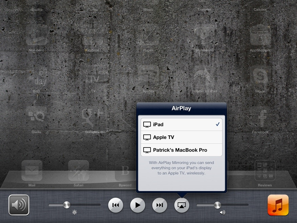 Connect iPad to Apple TV via AirPlay Mirroring
