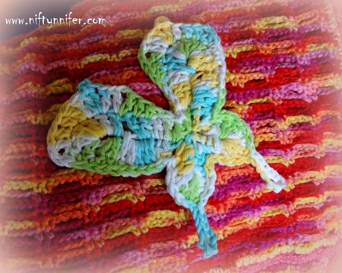 Free Crochet Pattern Butterfly Motif http://www.niftynnifer.com/2014/05/free-crochet-butterfly-motif-pattern-by.html #Crochet #Butterfly #Motif