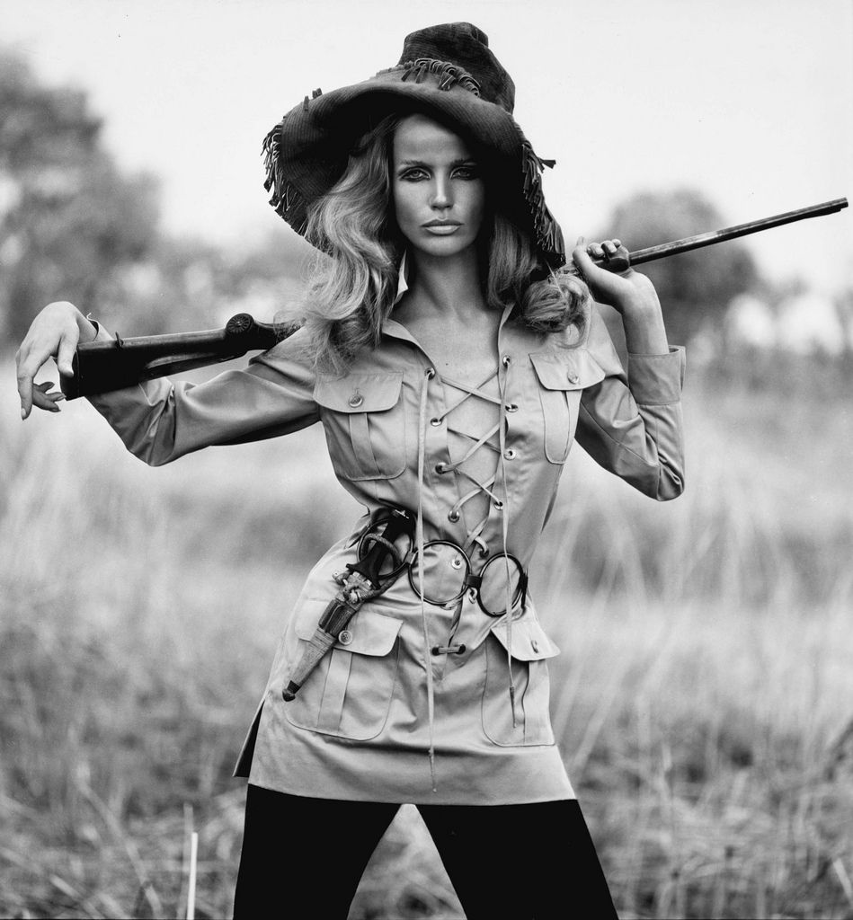Veruschka in a lace-up Yves Saint Laurent safari jacket photographed by Franco Rubartelli for Vogue Paris July-August 1968