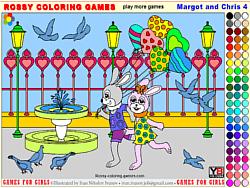 chơi game tô màu gia đình nhà thỏ