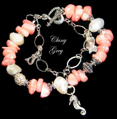 coral bracelet with pearls and sterling silver