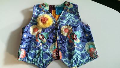 Fluffy brooch on waistcoat lining