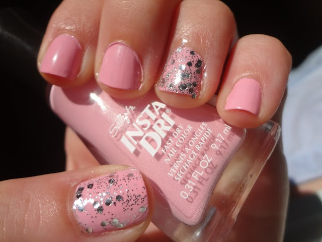 sally hansen pink blink with silver glitter