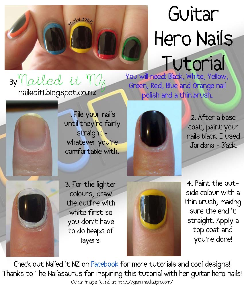 Nail art for short nails 2 guitar hero nails nailed it nz prinsesfo Gallery