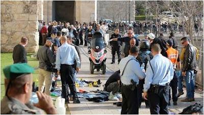 Terroristas palestinos atacam no Portão de Jaffa