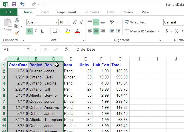 Cách tạm thời ẩn hàng, cột trong Excel 2013 10