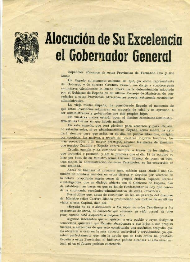 ALOCUCIÓN DE SU EXCELENCIA EL GOBERNADOR GENERAL