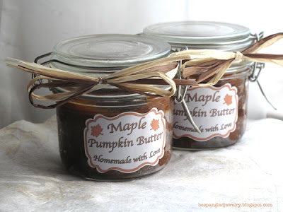 Homemade Maple Pumpkin Butter with homemade labels. Great gifts!