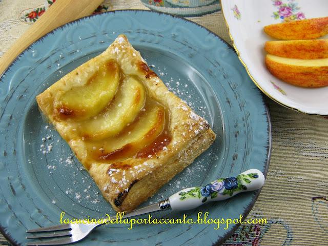 delizie di pasta sfoglia alle mele con marmellata di marroni