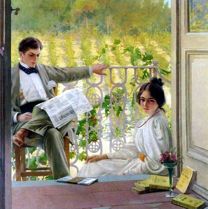 Afternoon on the Terrace by Vittorio Matteo Corcos