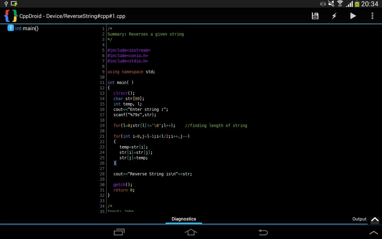 CppDroid – C/C++ IDE for Android Platform