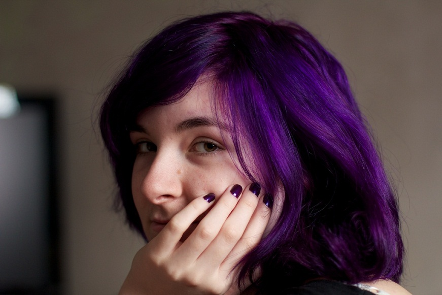 Good Morning Angel.: Stained Purple ~ freshly dyed hair.
