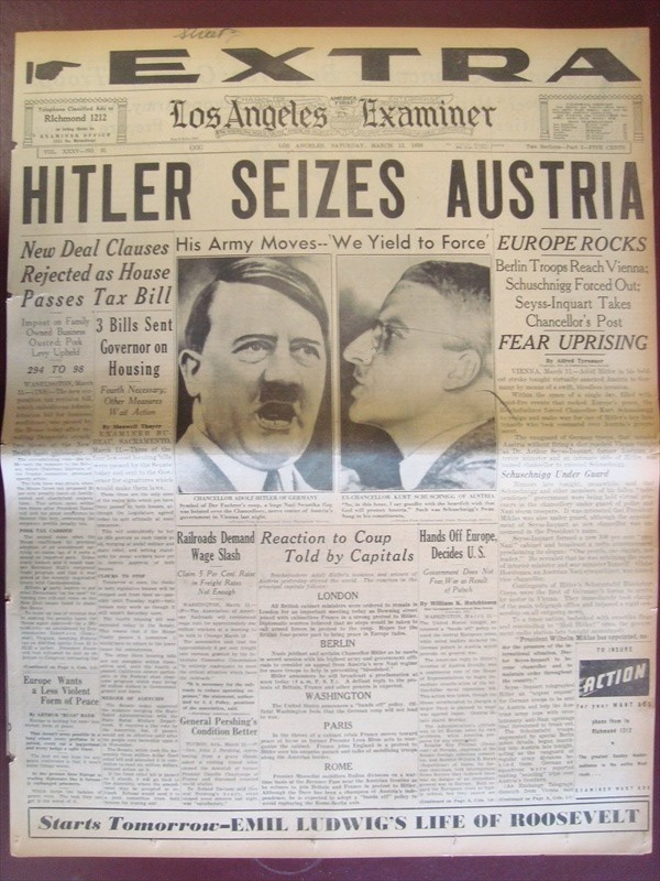Newspaper headline Hitler Seizes Austria