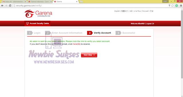 Setelah itu Email untuk Verifikasi sudah di kirim ke Email anda. kemudian klik Next Step. Tampilan