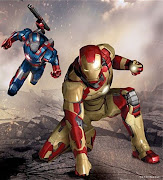 IRON MAN VS IRON PATRIOT (IRON MAN 3, 2013) (iron man art patriot armor)
