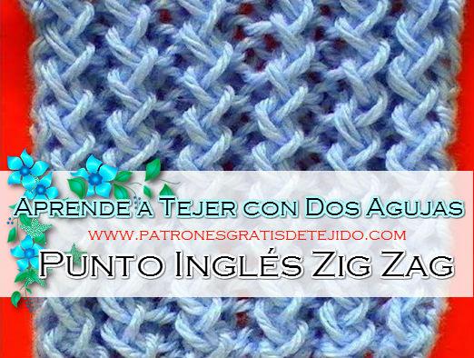 Clase gratis de tejido a dos agujas punto inglés zig zag paso a paso