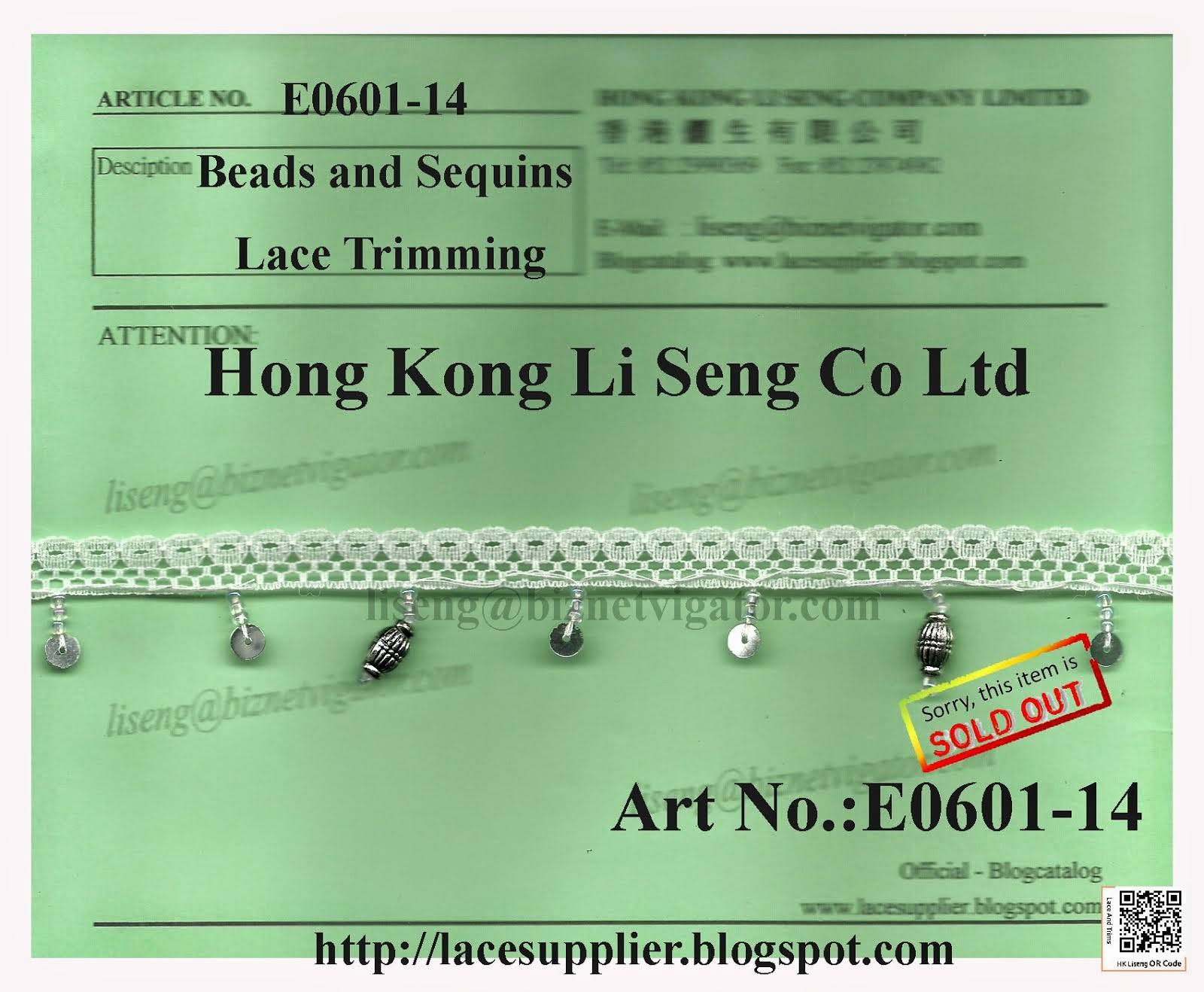 Beads and Sequins Lace Trimming Supplier - Hong Kong Li Seng Co Ltd
