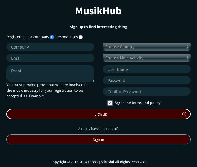MusikHub Web Mobile Application Pelantar Pemasaran Digital Kontent dari Nusantara Melayu Islam