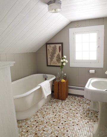 To da loos slanted ceiling bathrooms for Small bathroom with sloped ceiling