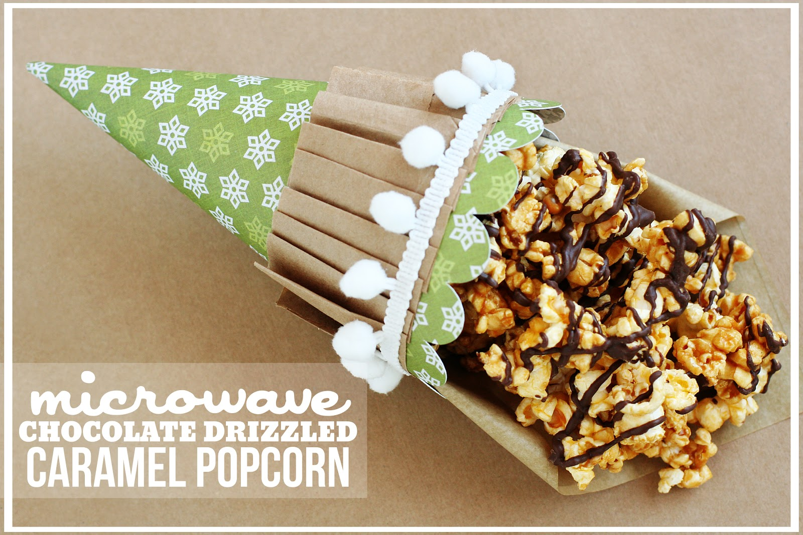 Microwave Chocolate Drizzled Caramel Popcorn - A Southern Fairytale