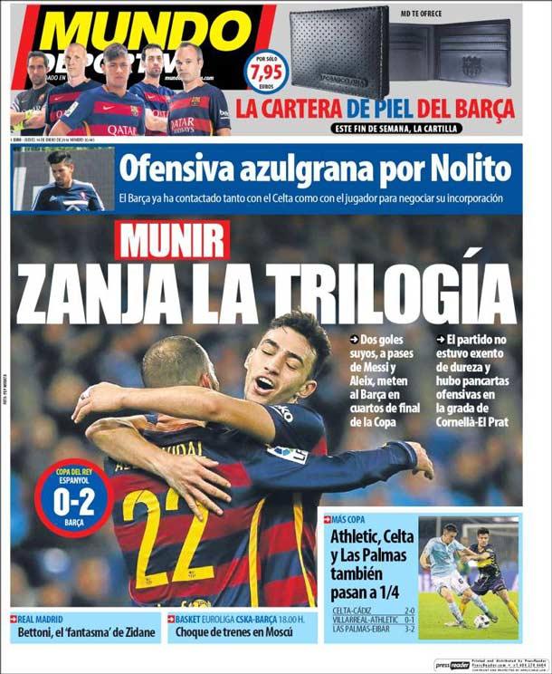 Portada del periódico Mundo Deportivo, jueves 14 de enero de 2015