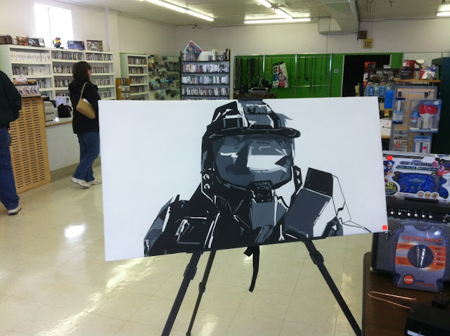 master chief from halo on canvas
