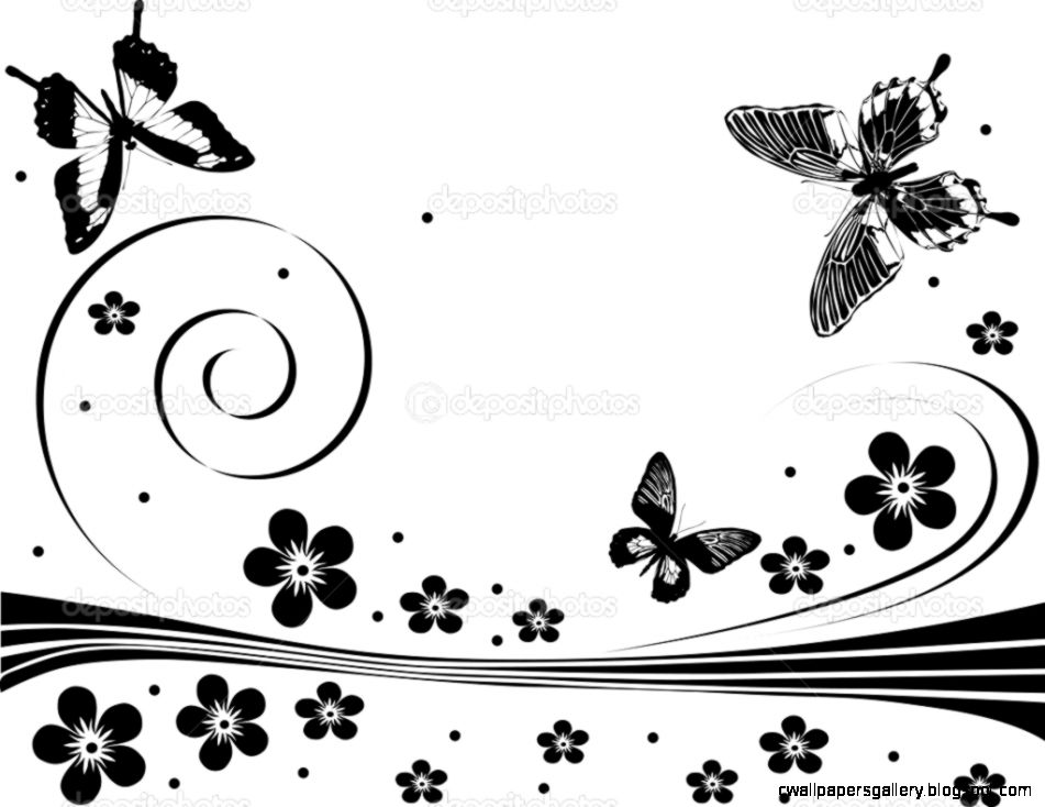 Black flower and butterfly design — Stock Vector ©  6416311