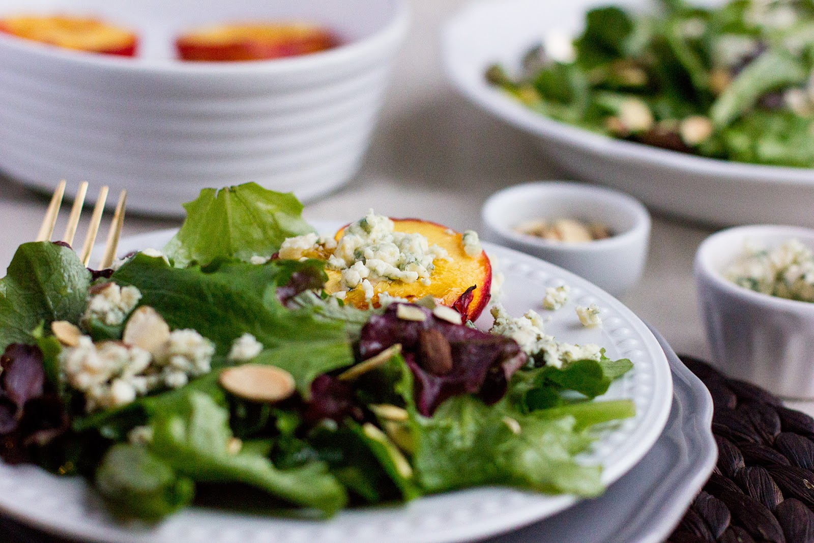 roasted nectarine blue cheese salad this salad is oh so