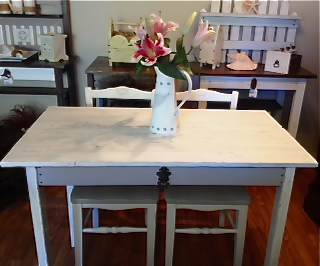 Custom - Distressed Gray & White Dining Table