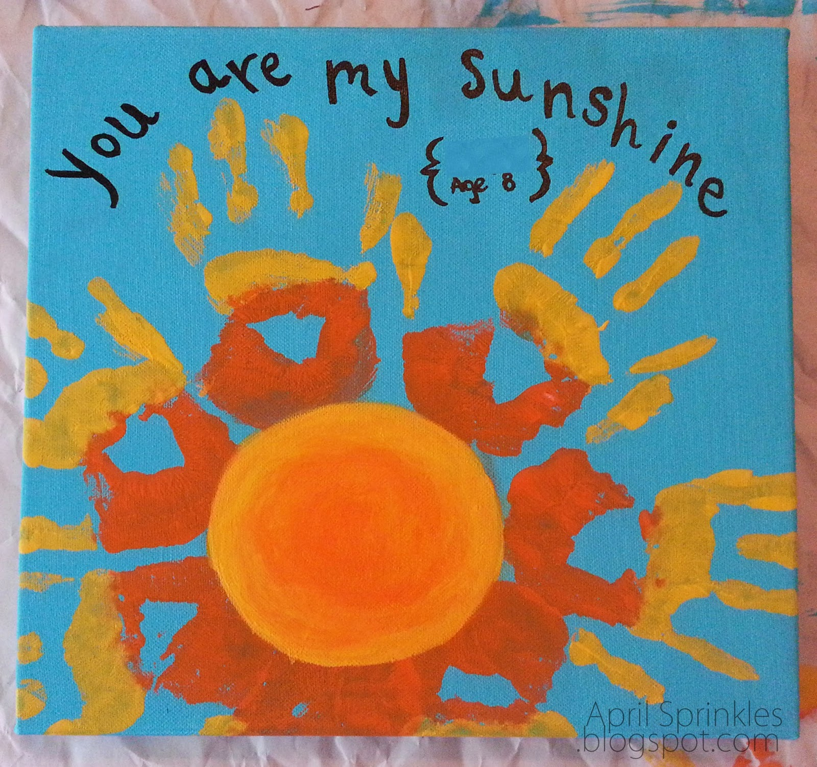 "April Sprinkles: ""You are my sunshine"" hand painting gift idea Mother's Day"