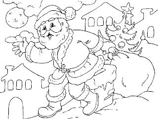 santa on a motorcycle coloring page  Santa and his Christmas