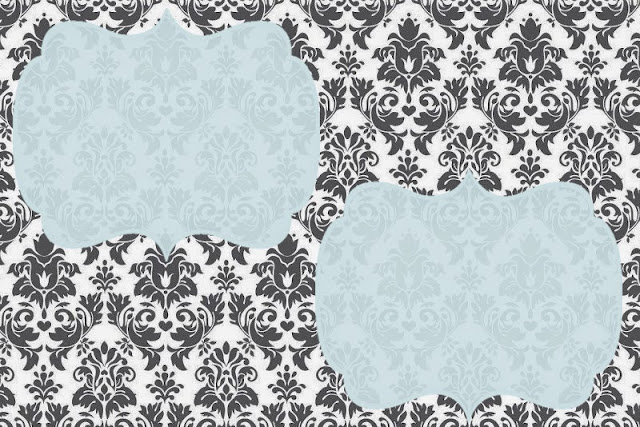 Grey Damasks in Light Blue: Free Printable Invitations, Labels or Cards.