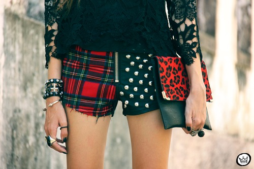 plaid and polka dot shorts, diy shorts, mix and match print shorts, mix n match cutoffs