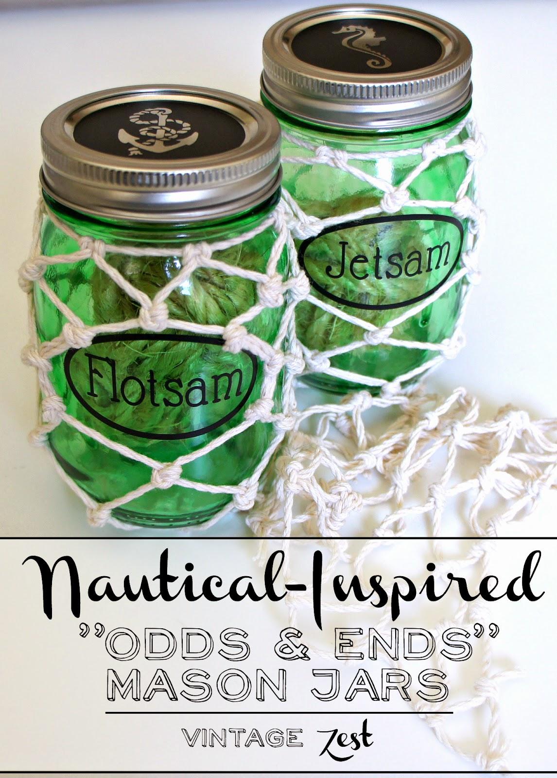 Nautical-Inspired Odds & Ends Mason Jars on Diane's Vintage Zest!