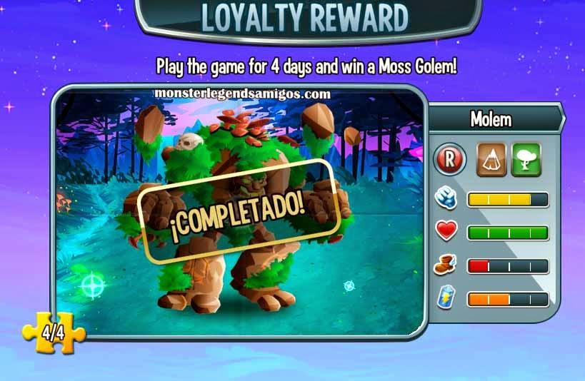 imagen del monstruo molem de la recompensa fidelidad de monster legends