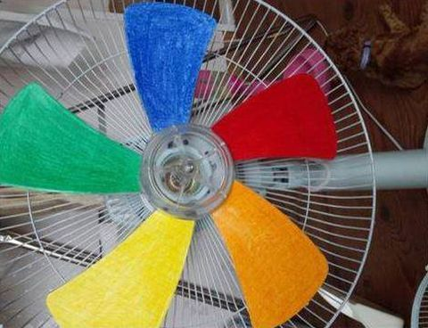Paint fan blades to get a rainbow effect