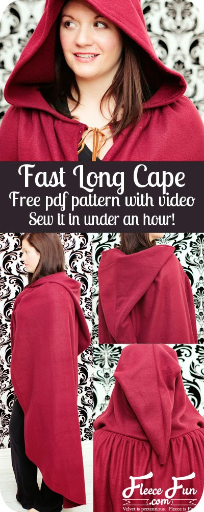 Sewing pattern for long cape