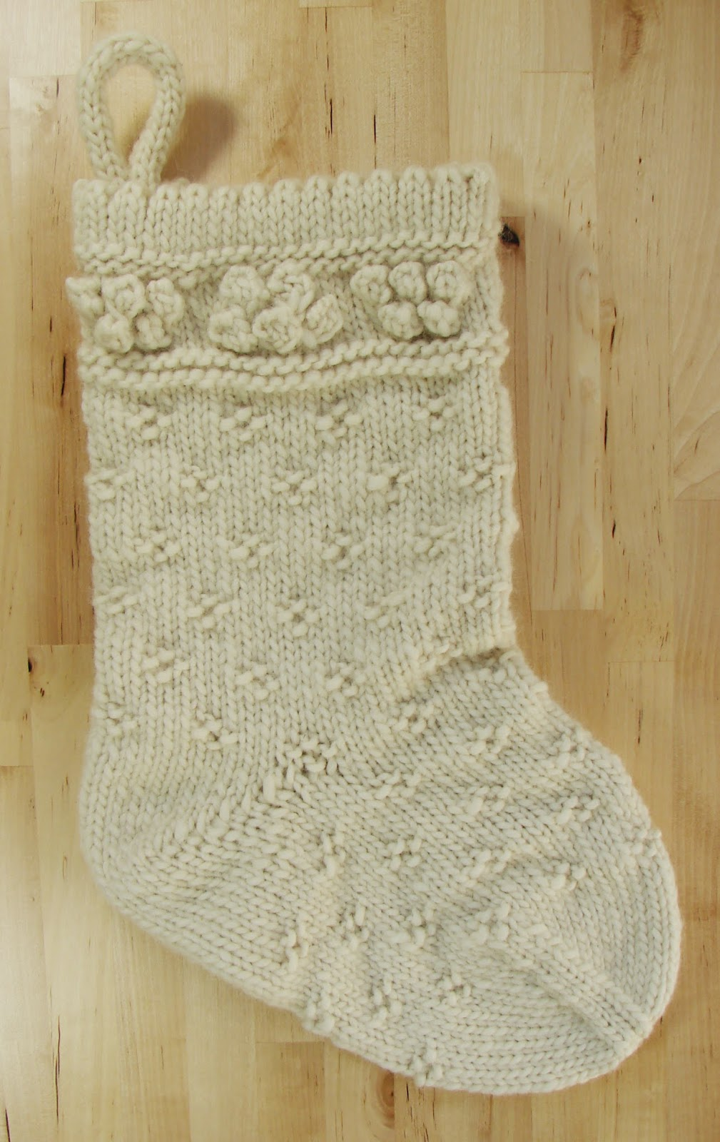 classic christmas stocking knit wool chunky cream white
