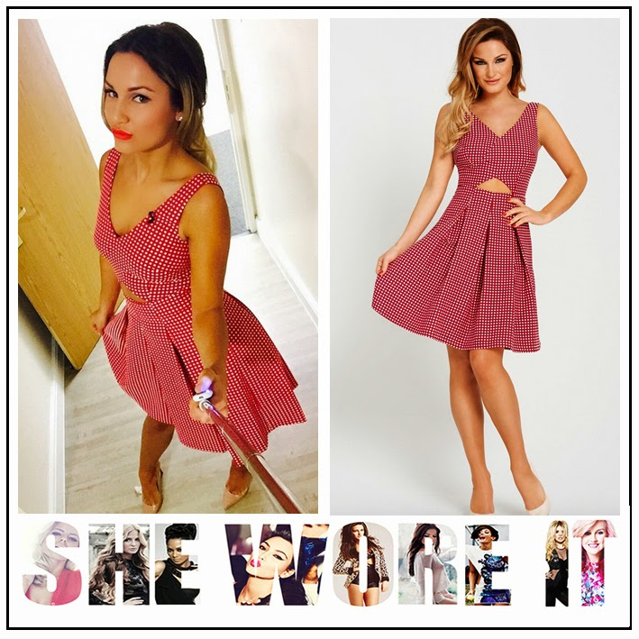 All Over Polka Dot, Celebrity Fashion, Cut Out, Full Pleated Skirt, Pattern, Print, Red, Samantha Faiers, Skater Style Dress, The Only Way Is Essex, TOWIE, very.com, White,