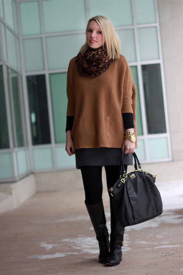 poncho, cape, layers, coach lindsay satchel, michael kors, wool skirt