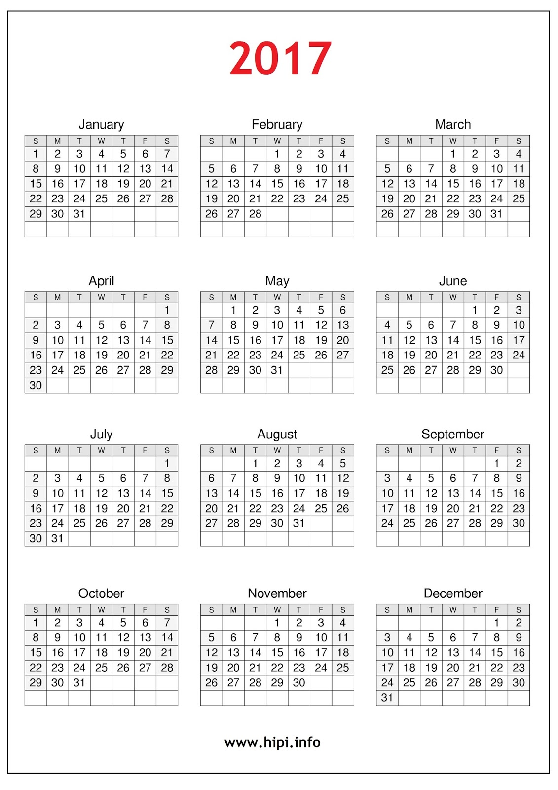 2017 Calendar Printable Free - Free Download