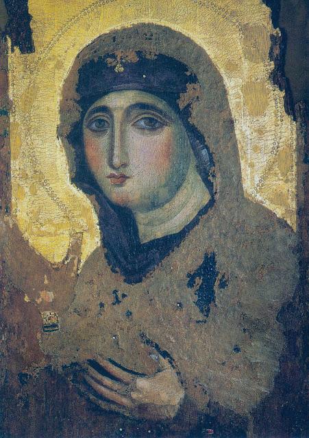 Η σπάνια βυζαντινή εικόνα του 7ου αιώνα της Παναγίας Αγιοσορίτισσας. Διαστάσεις 42,5 Χ 71,5 εκ. Σήμερα βρίσκεται στην εκκλησία: Chiesa di Santa Maria del Rosario a Monte Mario, Ρώμη.